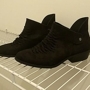 Just fab, black, faux suede booties. Sz 8.5